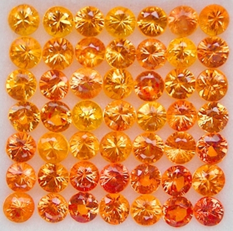Saphir Lot Brillantschliffe rötlich-orange 10,0 ct