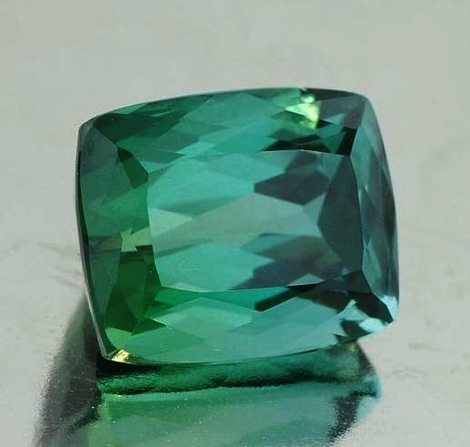 Tourmaline cushion bluish green 9.18 ct