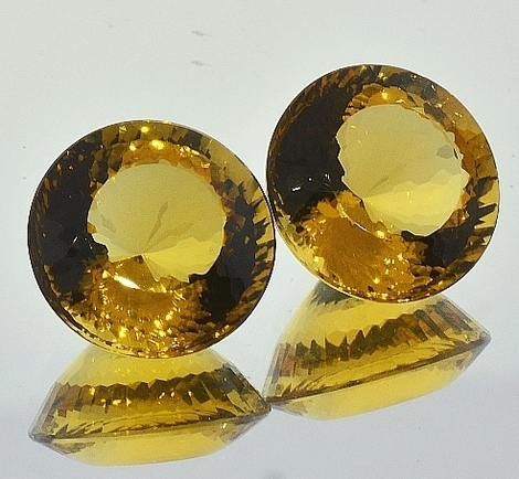 Citrine Pair round 28.54 ct