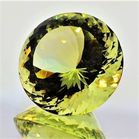 Beryl Heliodore round yellowish green 40.36 ct
