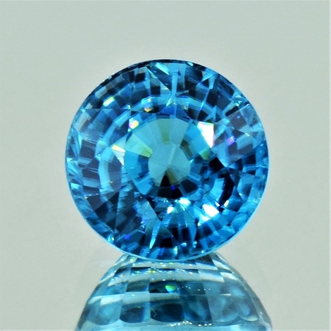 Zircon round blue 12.58 ct