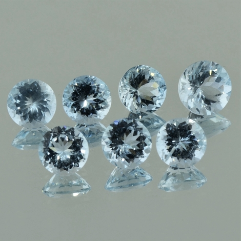 Aquamarin Lot, Rund facettiert (13,76 ct.) aus Brasilien