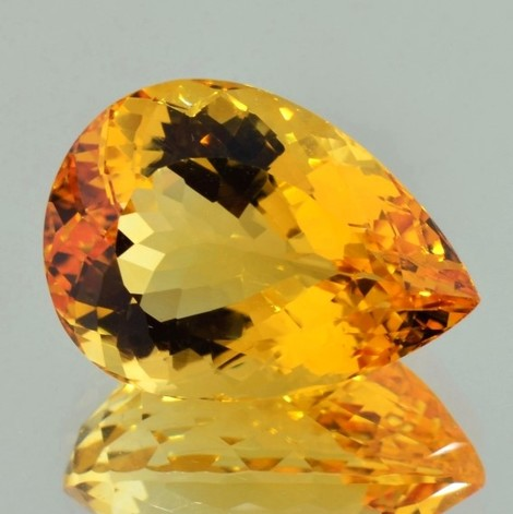 Citrine pear yellow orange 22.13 ct