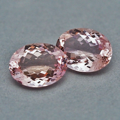 Morganite Pair oval light pink 25.32 ct