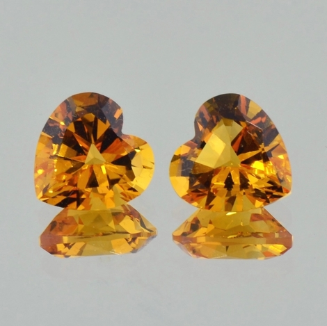 Citrine Pair heart orange 7.73 ct