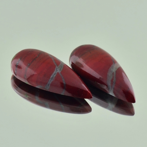 Jasper Pair Cabochon pear reddish brown 23.24 ct