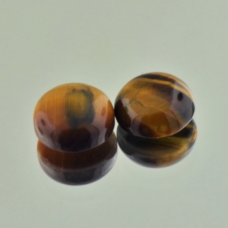 Tiger´s Eye Pair Cabochon round 7.02 ct
