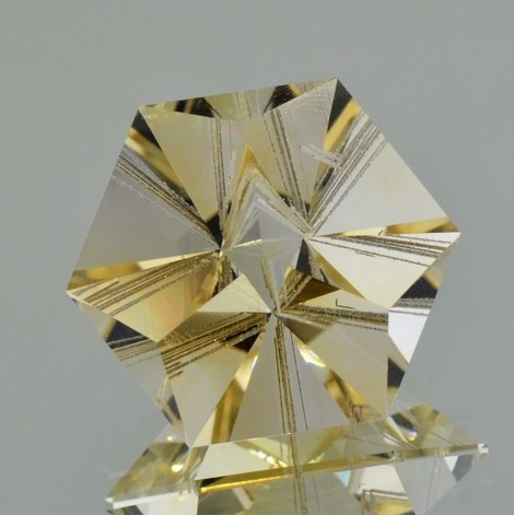 Rutil-Citrin Design-Hexagon hellgelb 36,59 ct