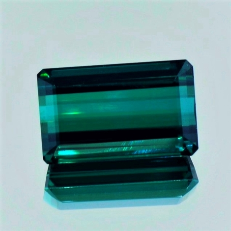 Tourmaline octagon blue green 27.72 ct