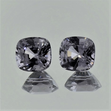 Spinel Pair cushion gray 4.53 ct.