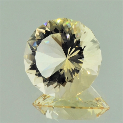 Citrine round fantasy light yellow 32.05 ct