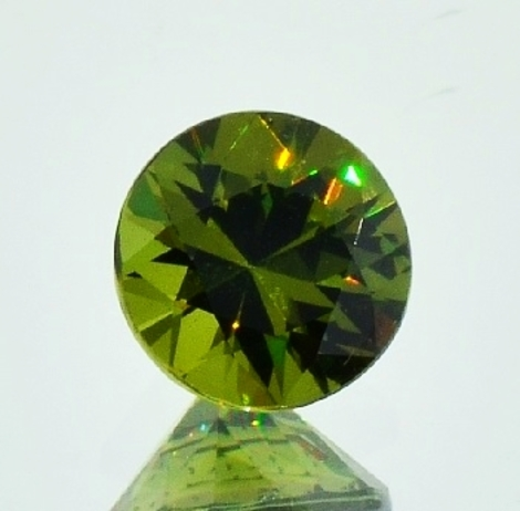 Demantoid round brilliant olive-green 2.11 ct