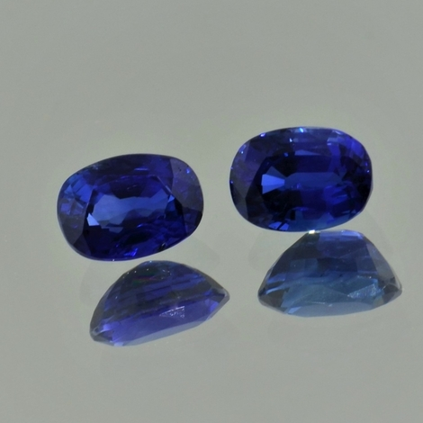 Saphir Duo oval blau 2,98 ct