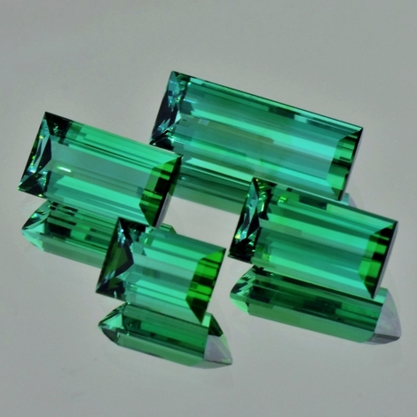 Tourmaline Set Baguette blue green 18.32 ct