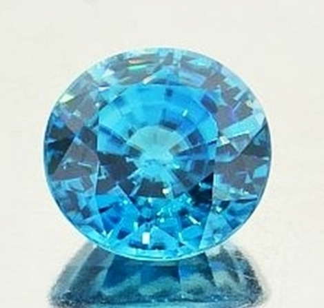 Zircon round blue 6.91 ct